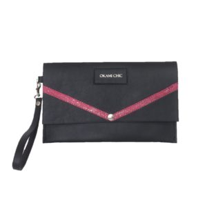 Pochette femme en cuir noir et rose