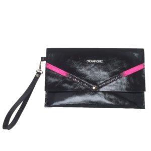 Pochette ultra chic noir et rose fluo