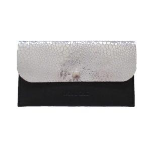 Petit portefeuille en cuir blanc argenté
