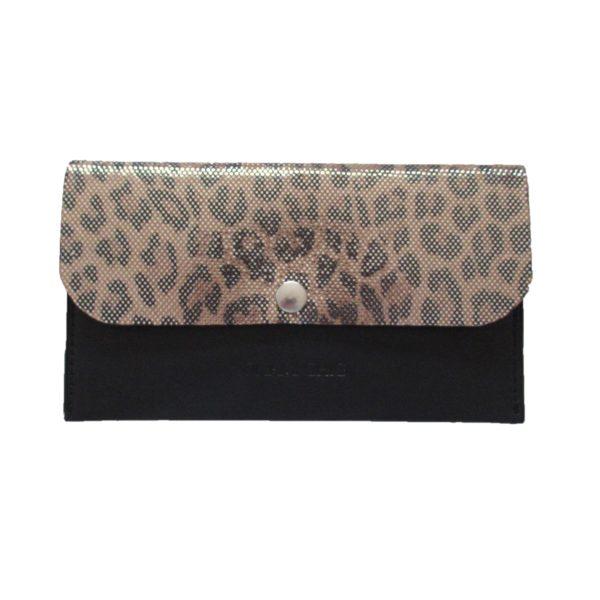 Petit portefeuille en cuir léopard irisé