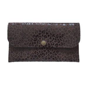 Petit portefeuille en cuir léopard marron
