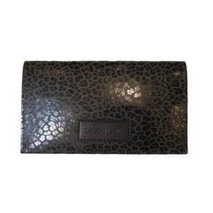 Porte chéquier en cuir marron léopard