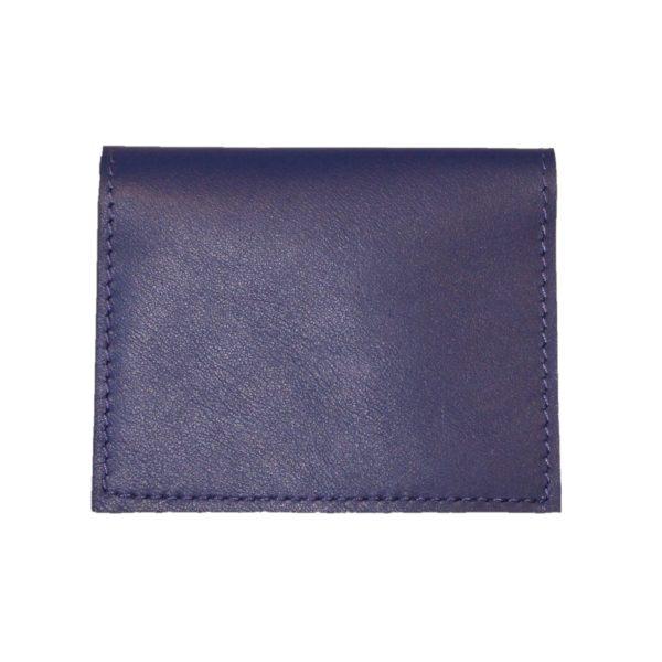 Porte cartes en cuir bleu